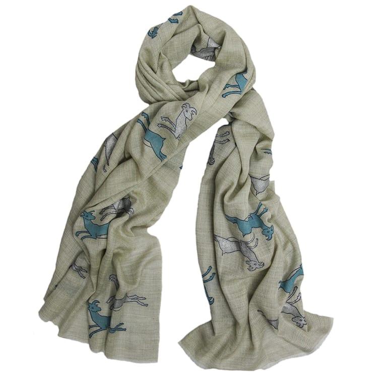 Huichol Deer Print Cashmere Scarves