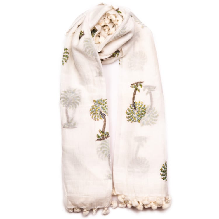 Green Palm Print Scarves Online